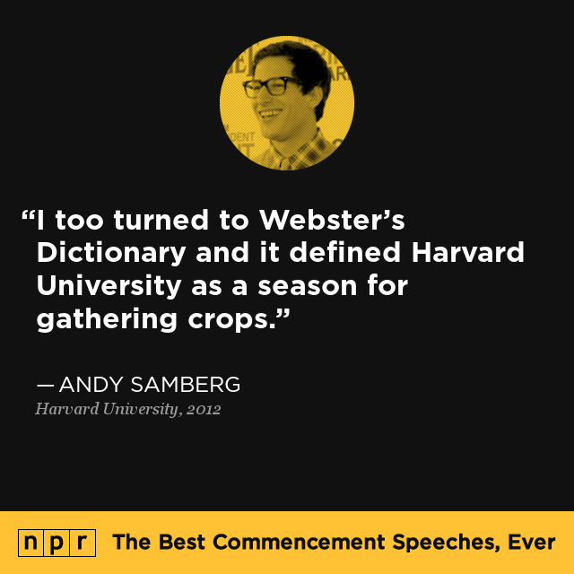 andy samberg graduation speech transcript