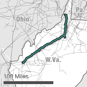 Map showing the Mountaineer XPress route