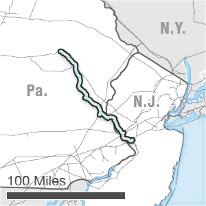 Map showing the PennEast route